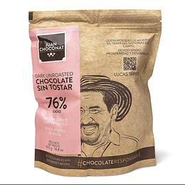 Chocolate 76% Cacao Sin tostar 420 grs
