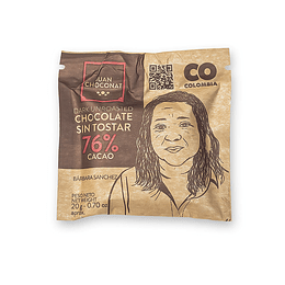 Chocolate 76% Cacao Sin tostar 20 grs