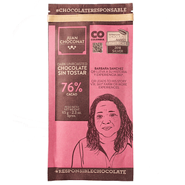 Chocolate 76% Cacao Sin tostar 65 grs