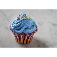 Blue Vanilla Cupcake With Party Colored Chips