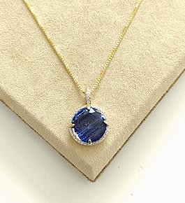 Colar Pedra Azul c/ Zirconias Cravejadas