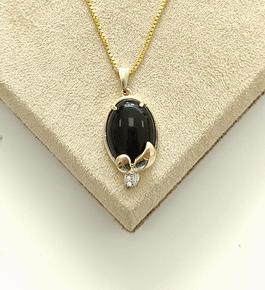 Colar Pedra Negra c/ Cristal