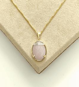 Colar Pedra Rosa Oval