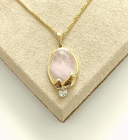 Colar Pedra Rosa Oval c/ Cristal