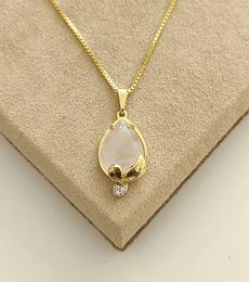Colar Pedra Rosa Gota c/ Cristal