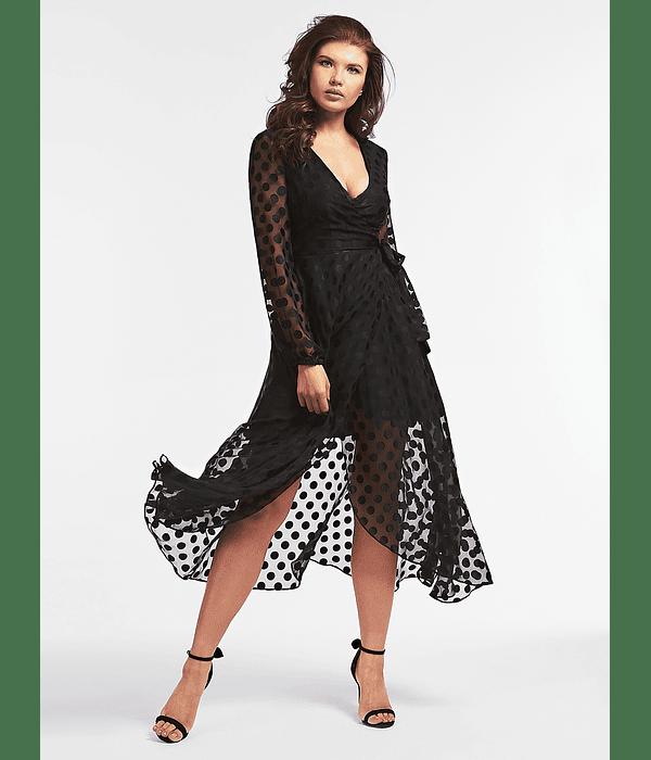Vestido Comprido com Transparências e Bolinhas - Guess