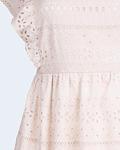 Vestido Bordado Inglês e folhos - SAHOCO