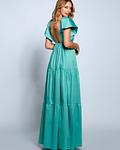 Vestido Comprido com Folhos e Tule - SAHOCO