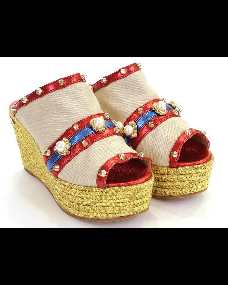 Sandálias de Cunha Com Perolas - SAHOCO