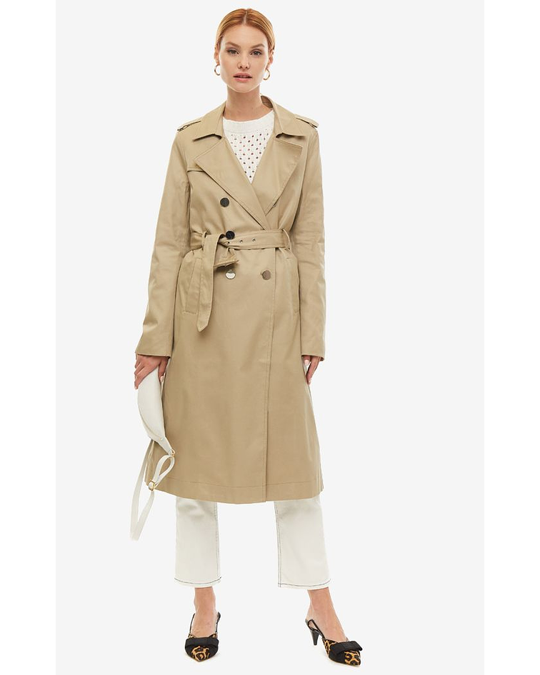 Trench Coat Comprida Interior Prata - Guess