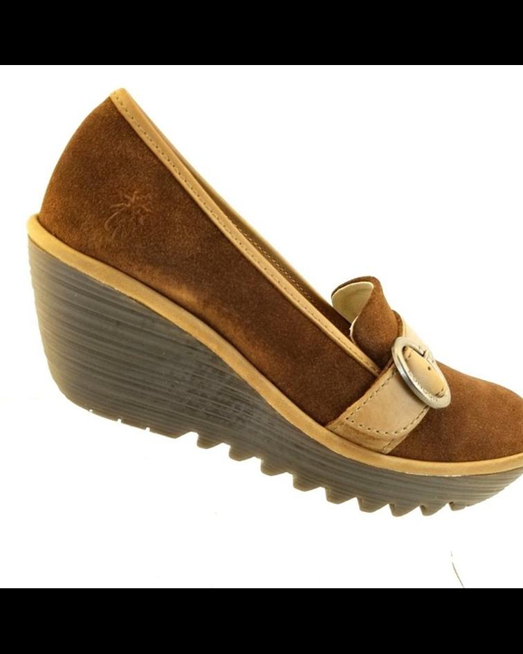 Sapato em Cunha com Fivela Yond - Fly London