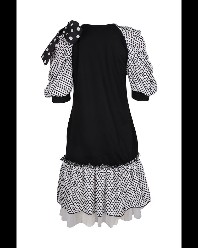Vestido de Bolinhas e Folhos - SAHOCO