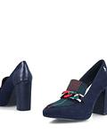 Sapato de Salto com Correntes Azul - Menbur