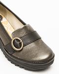 Sapato em Cunha com Fivela Metalizado Yond - Fly London