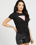 T-shirt Triângulo Algodão Orgânico Preto - Guess