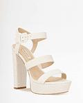 Sandália de Salto Largo em Croco Branco - Guess