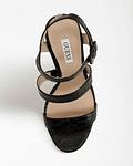 Sandália de Salto Largo em Croco Preto - Guess