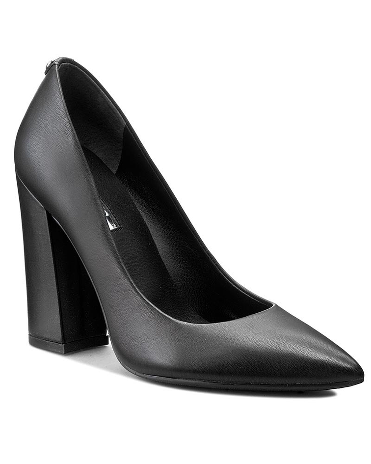 Sapato Salto Largo Pele Lisa - Guess
