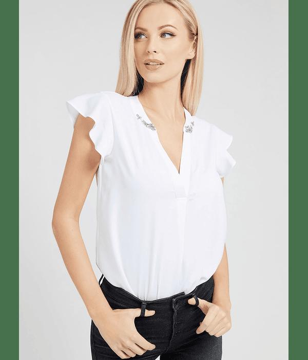 Blusa com Detalhes na Gola Verde - Guess
