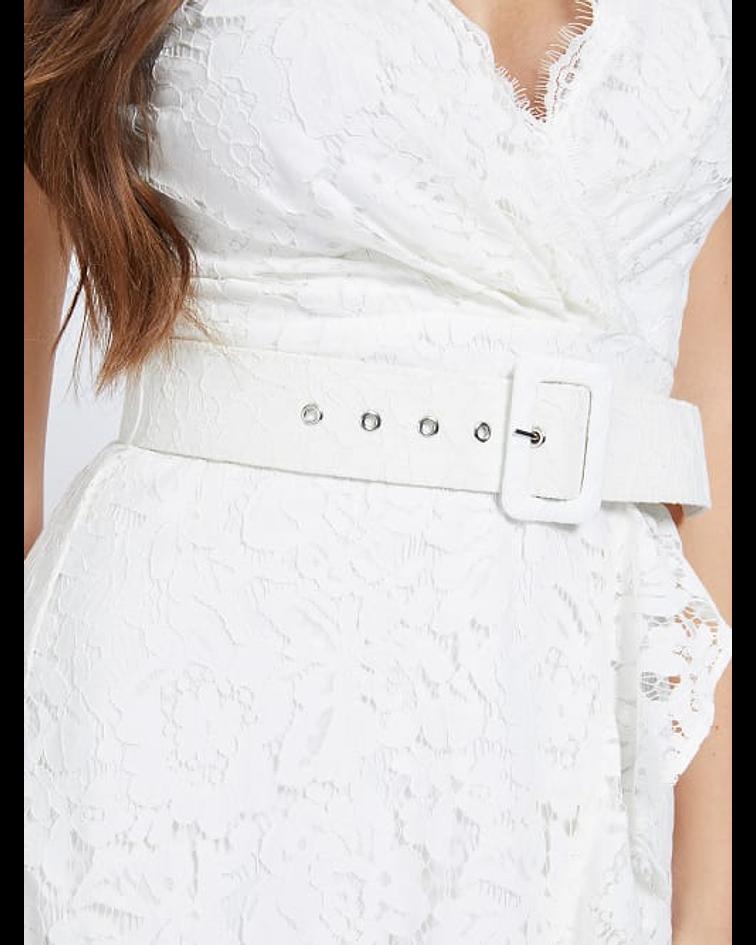 Vestido Midi em Renda Randa Branco - Guess