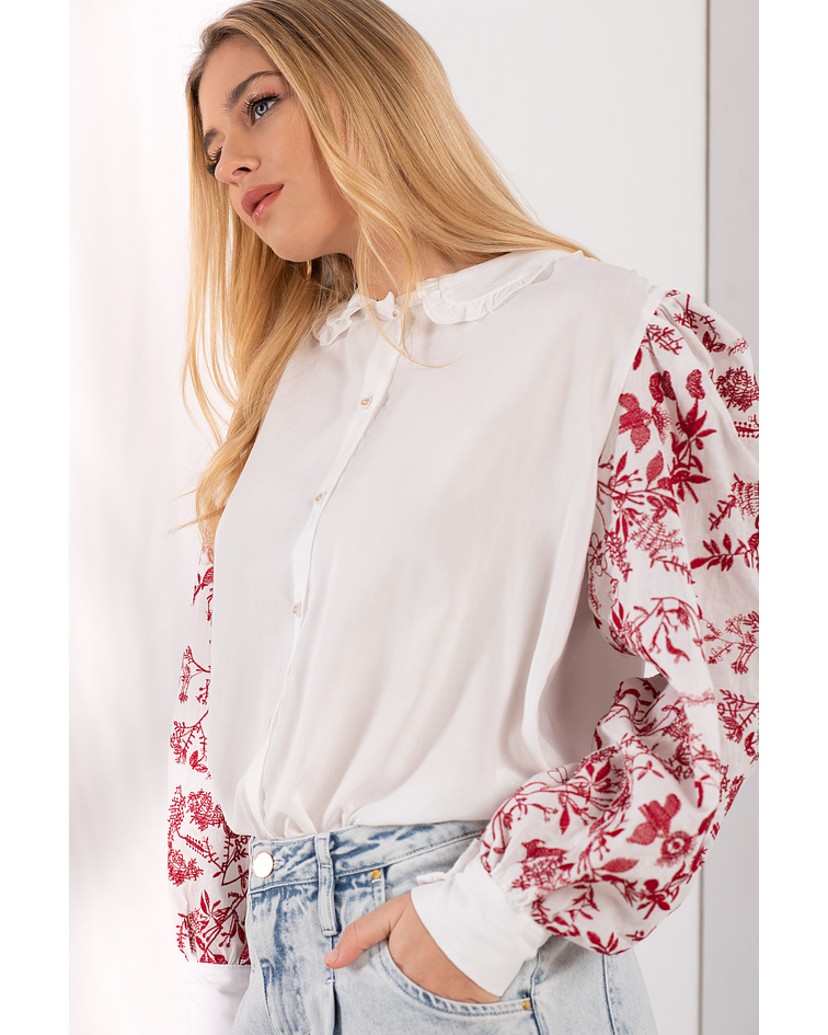 Camisa Bordada Mangas Balão - SAHOCO