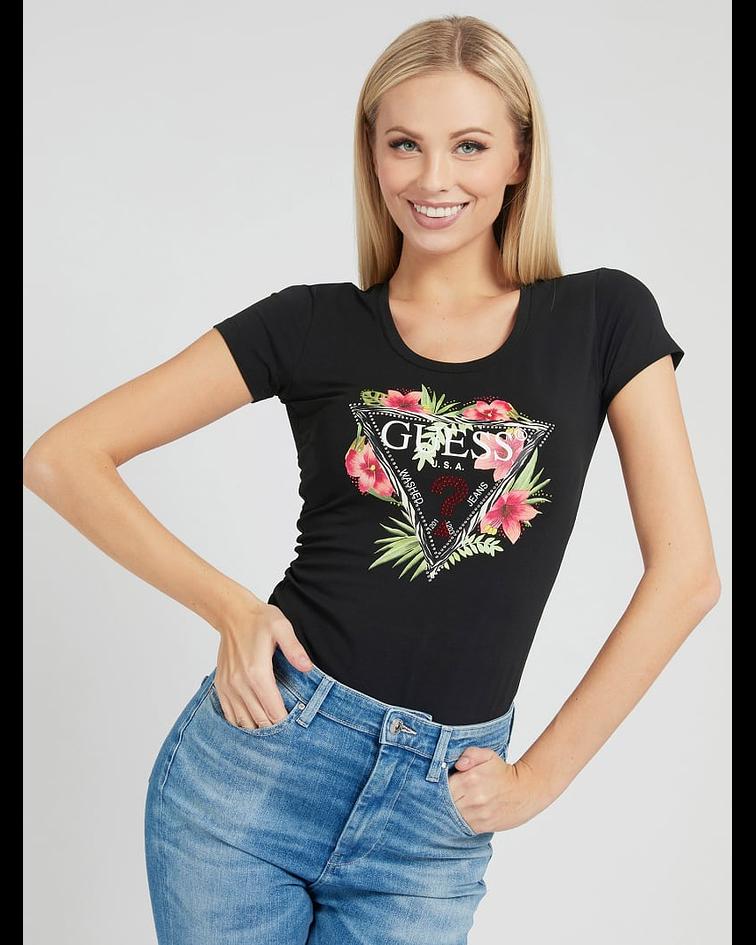 T-shirt Guess Triângulo Floral Preto - Guess