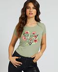 T-shirt Guess Triângulo Floral Verde - Guess