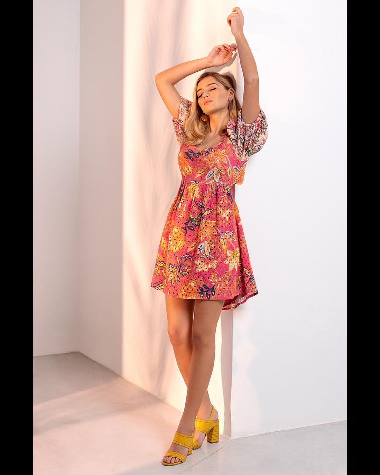 Vestido Curto Bordado Floral - SAHOCO
