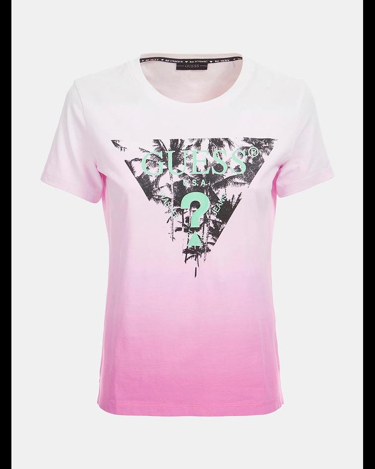 T-shirt Triângulo Palmeiras Rosa - Guess