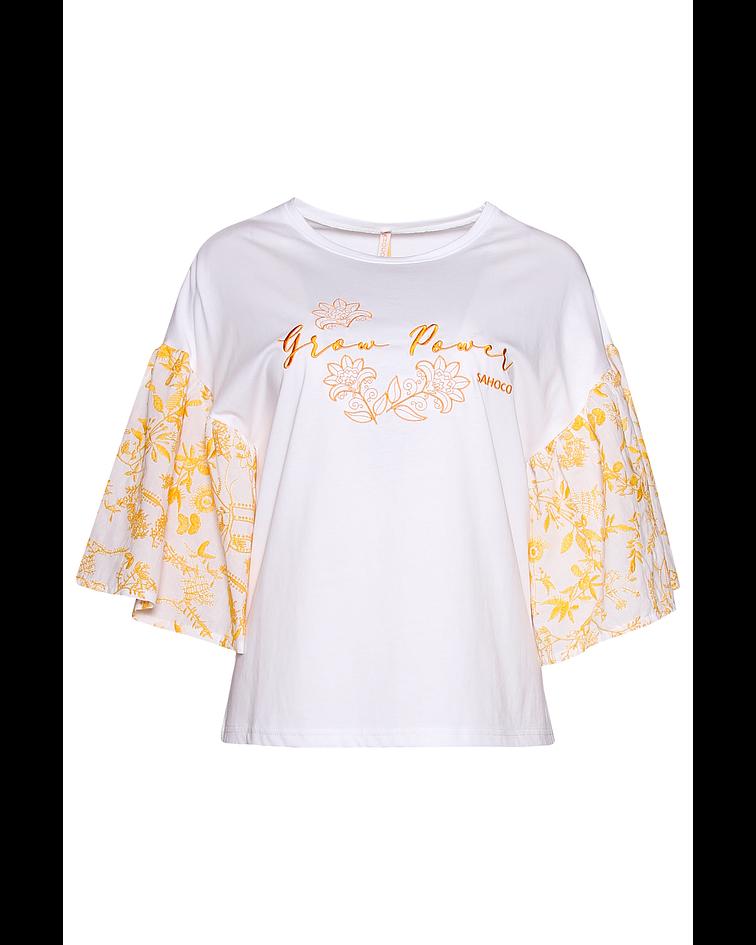 T-shirt manga com bordados - Sahoco