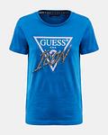 T-shirt Icon com Strass Azul - Guess