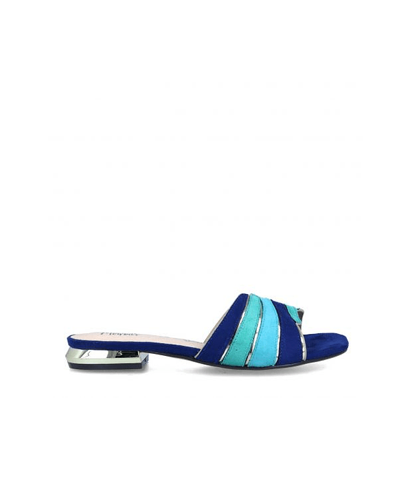 Chinelo Rasteiro em Suede Calibano Azul - Menbur