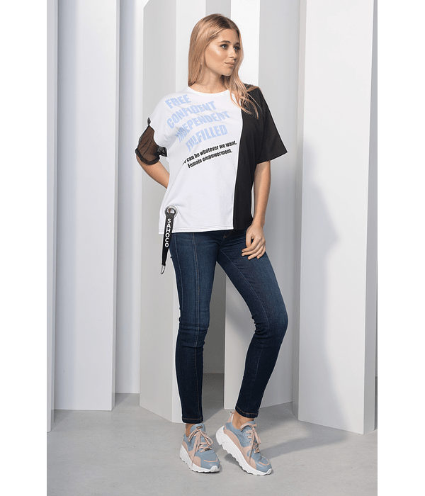 T-shirt Bicolor com Manga de Rede Branco - SAHOCO
