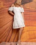 Vestido em Tule Bordado Branco - SAHOCO