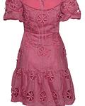 Vestido em Tule Bordado Rosa - SAHOCO