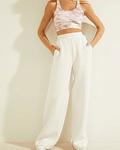 Calças Pantalonas em Neoprene Branco - Guess