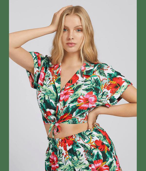 Camisa Curta Padrão Tropical - Guess