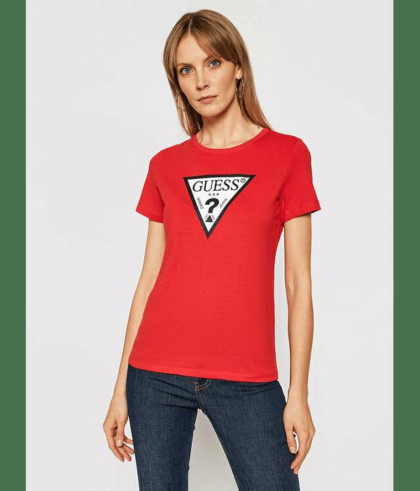 T-shirt Triângulo Algodão Orgânico Vermelho - Guess
