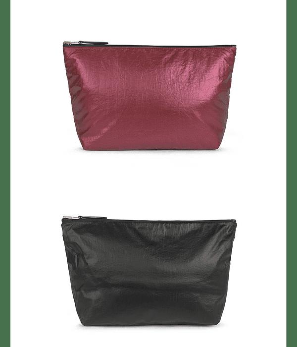 Bolsa Pequena Reversível Metalizada Preto/Bordeaux Kaos Shock - Tous