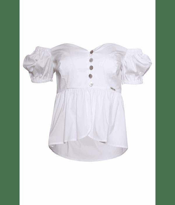 Top Decote Coração Branco - SAHOCO