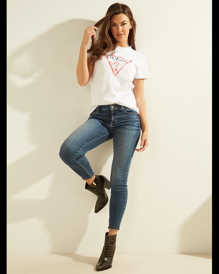T-shirt Triângulo Envelhecido Branco - Guess