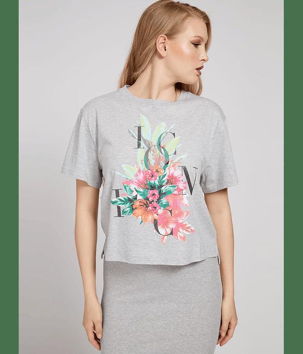 T-shirt Larga Flores Gabriella Cinza - Guess