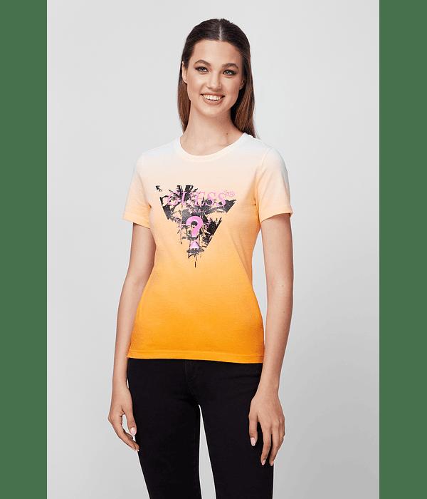 T-shirt Triângulo Palmeiras Laranja - Guess