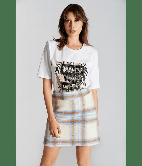 T-shirt com aplicações Print Why - SAHOCO