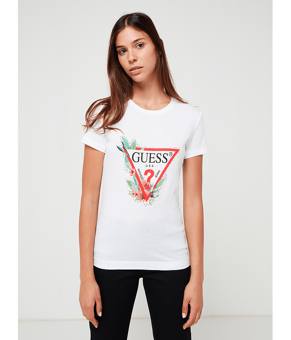 T-shirt Triangulo Floral Nora Branco - Guess