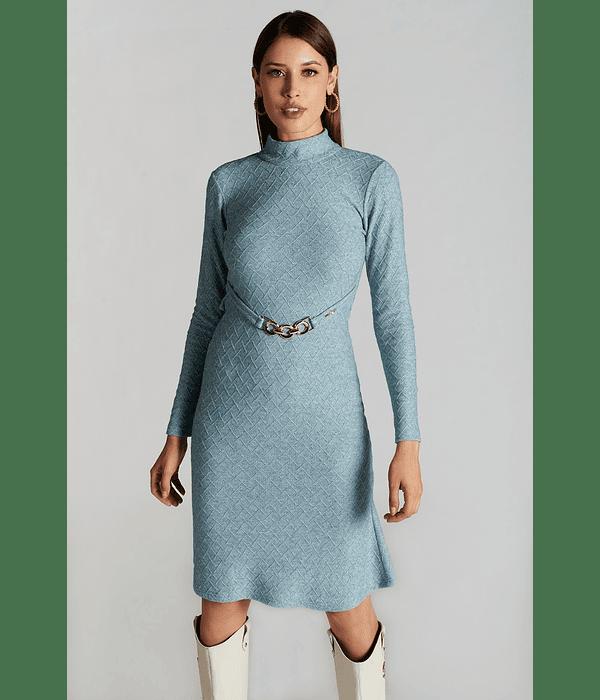 Vestido em Malha Evasê Azul  - SAHOCO