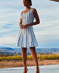 Vestido malha costas cruzadas com pespontos - SAHOCO