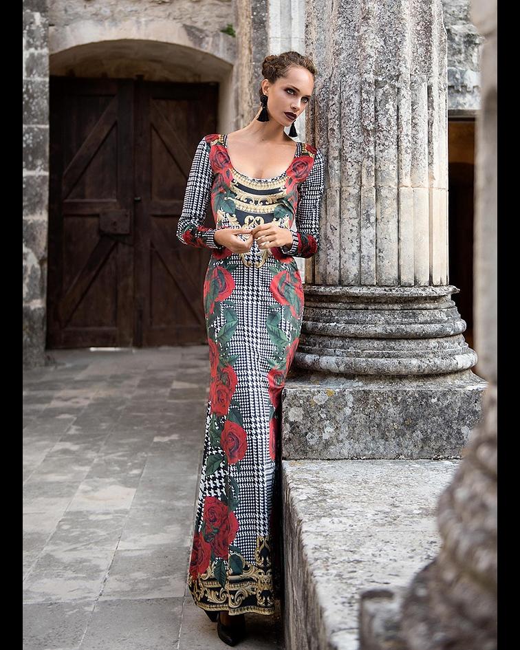 Vestido decote redondo - SAHOCO
