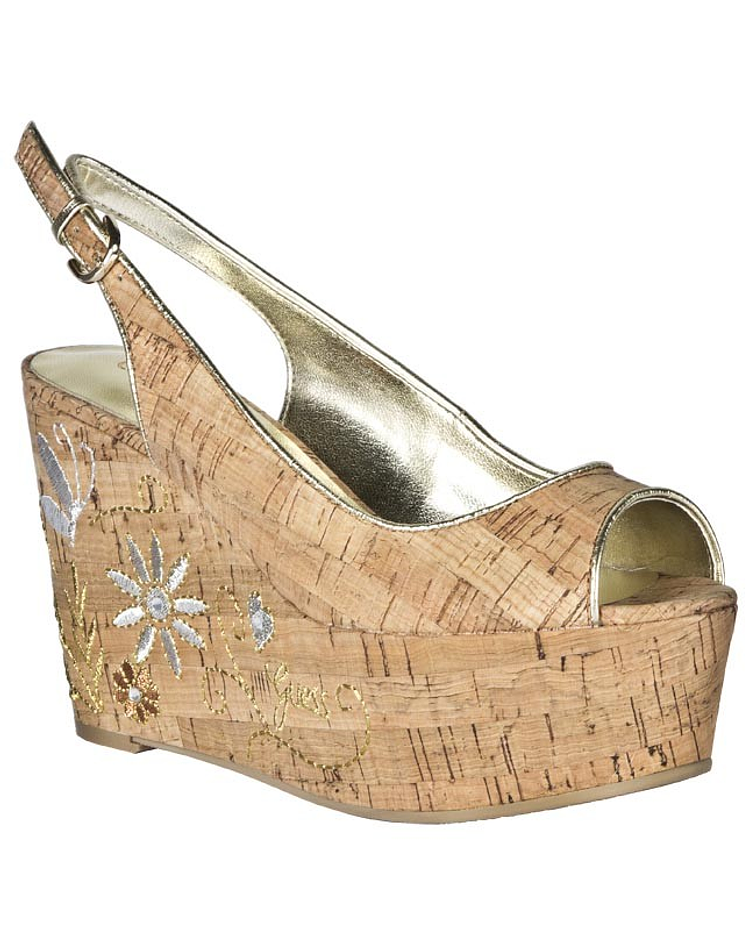 Sandália cortiça com bordados - Guess