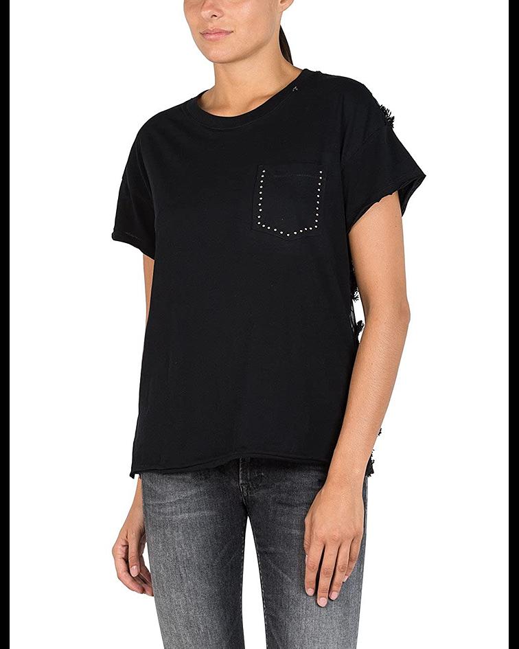 T-shirt com Renda nas Costas - Replay